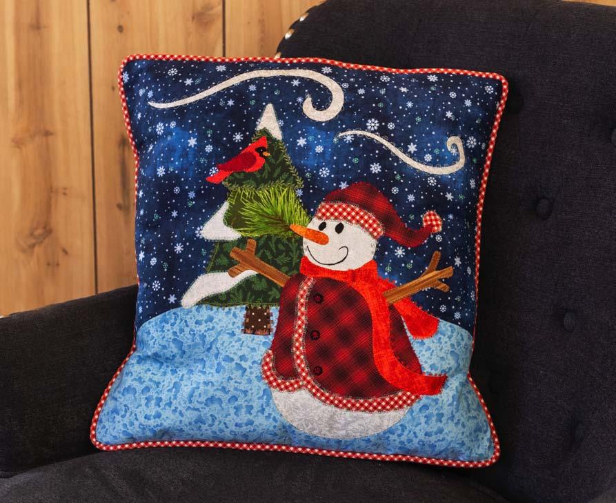 snowman pillow from mini quilt