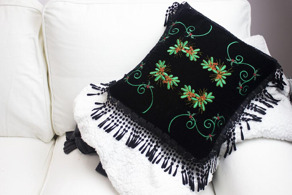 velvet embroidered pillow