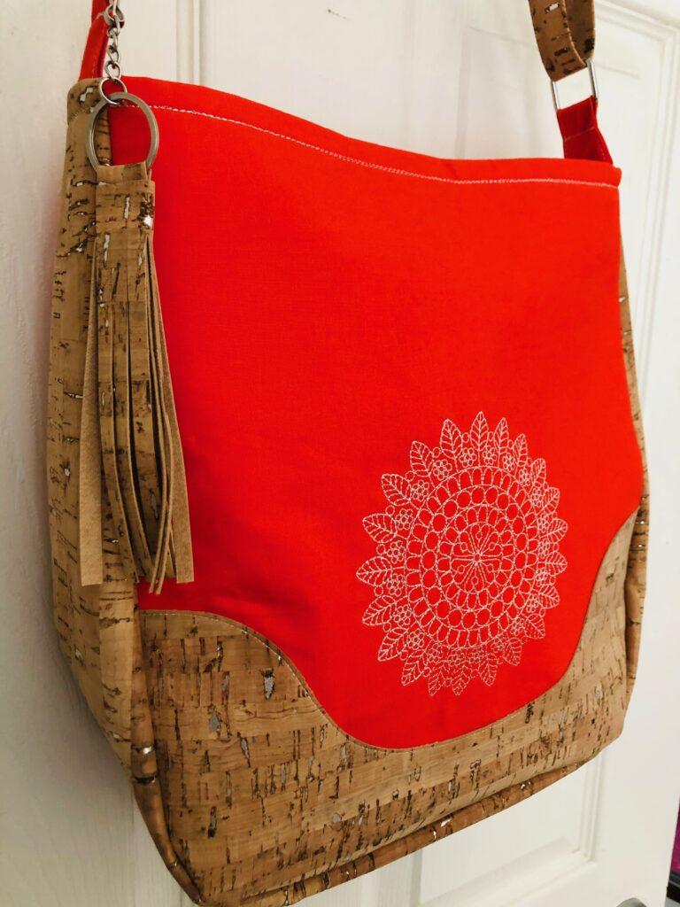 metallic thread on bag