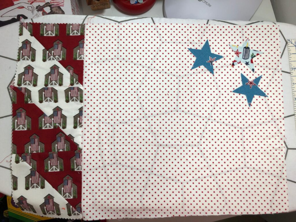 fused applique stars on place mat