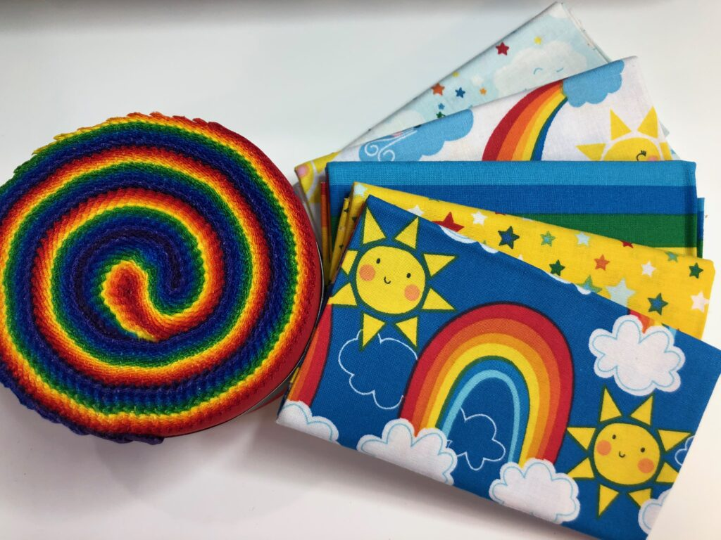 rainbow fabrics for quilt