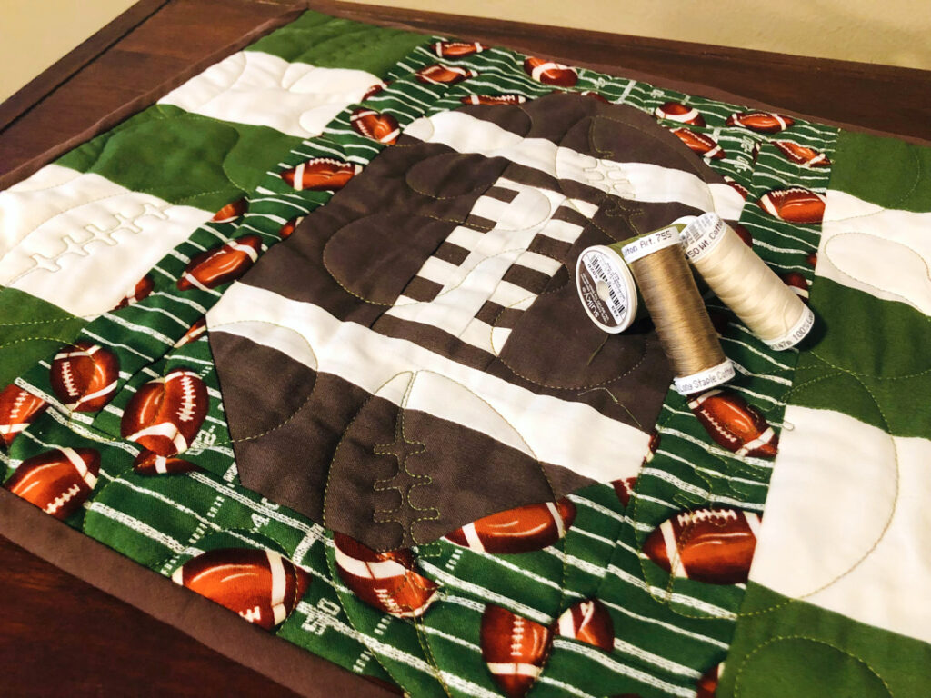 table runner with thread