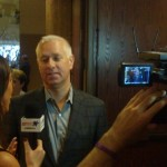 Trainer Todd Pletcher doing interviews
