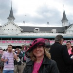 Pink bunting covers the Racetrack to match the hats