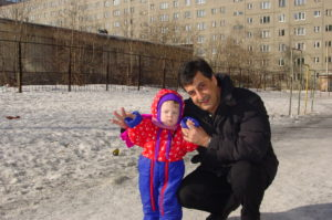 Me with my dad at the orphanage