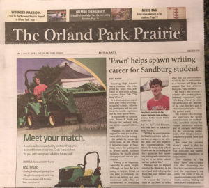 """Feature story in the Prairie Newspaper Life & Arts Section June 21, 2018 on Aaron Hanania and his first book """"The King's Pawn"""""""