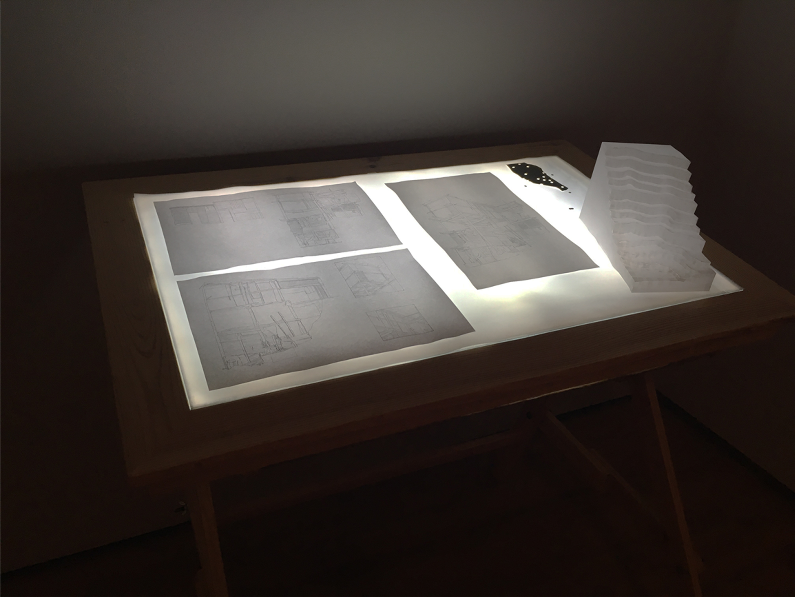 Detalle Arquitecturas leves, 2012. Mesa de luz, impresiones, papel.