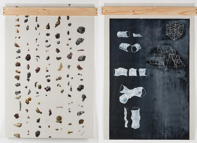 Procesos vacuus e Inventario, 2016. Acrílico sobre material no tejido. 150 x100 cm. c/u. Fotografía: Carlos Tobón
