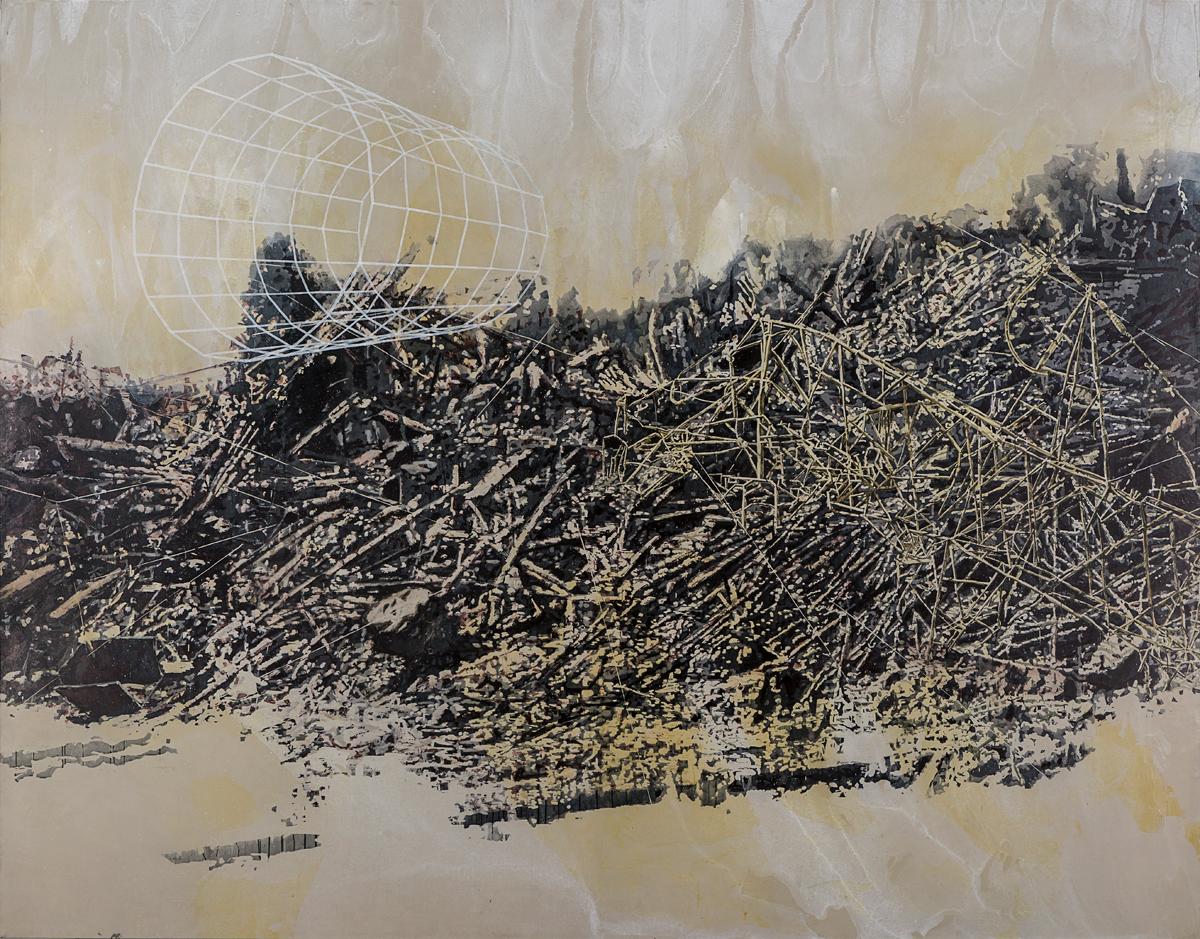 Paraje, 2016. Acrílico sobre lona. 356 x 457 cm. Fotografía: Carlos Tobón
