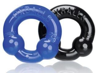 Oxballs Ultraballs Cock Rings - Black/Police Blue Pack of 2