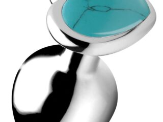 Authentic Turquoise Gemstone Heart Anal Plug - Medium