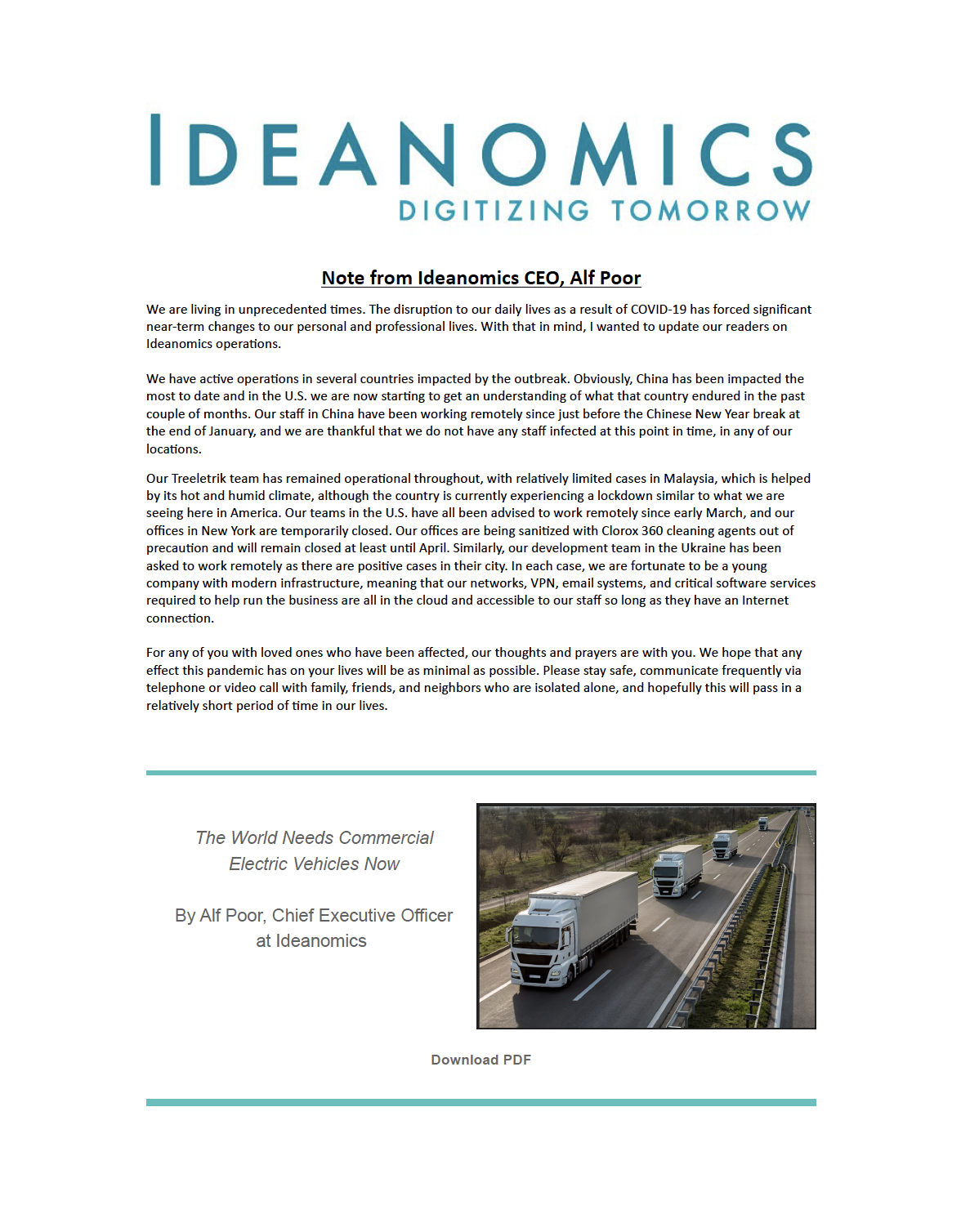 Ideanomics March 2020 Newsletter