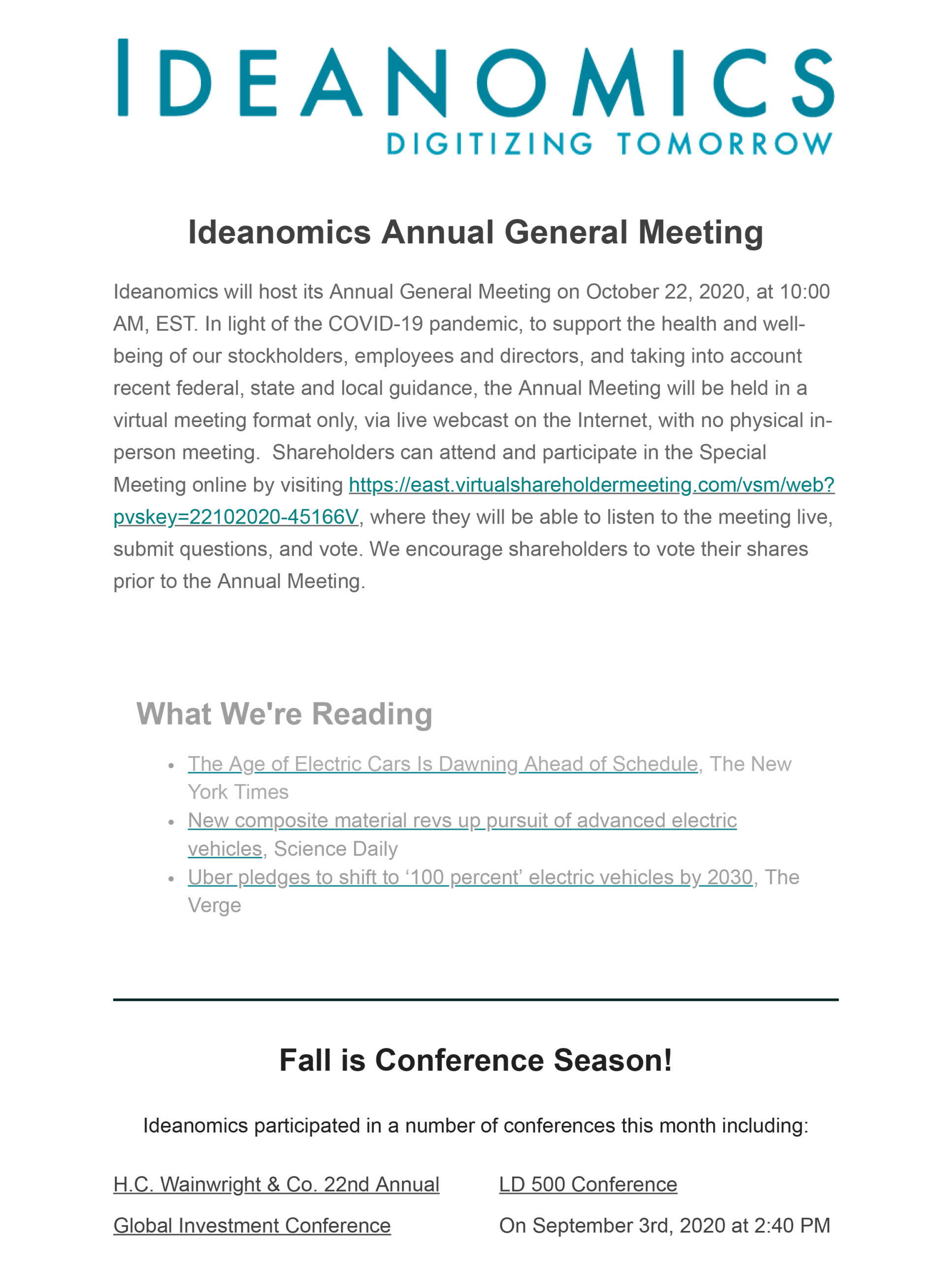 Ideanomics September Newsletter
