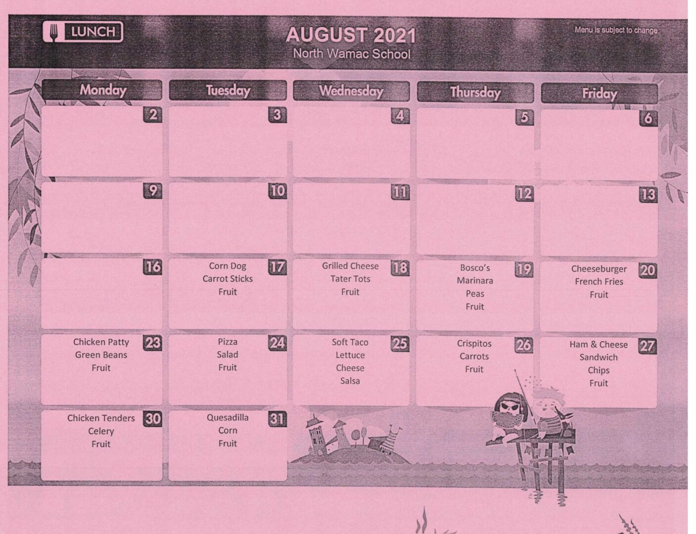 Aug 2021 Lunch menu