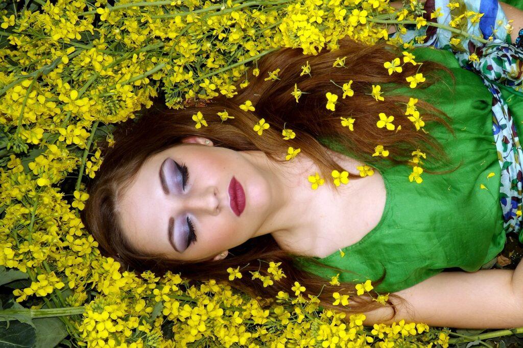 girl, flowers, yellow