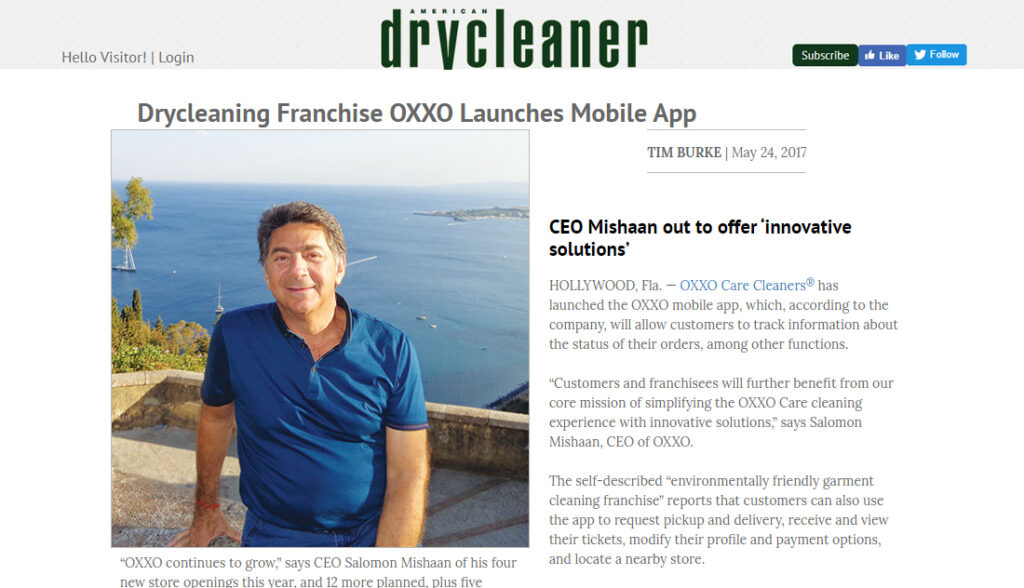 Drycleaning Franchise OXXO Launches Mobile App