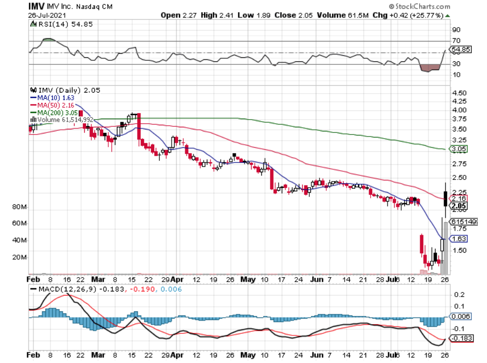IMV Inc. IMV Stock Technical Performance In The Last Year