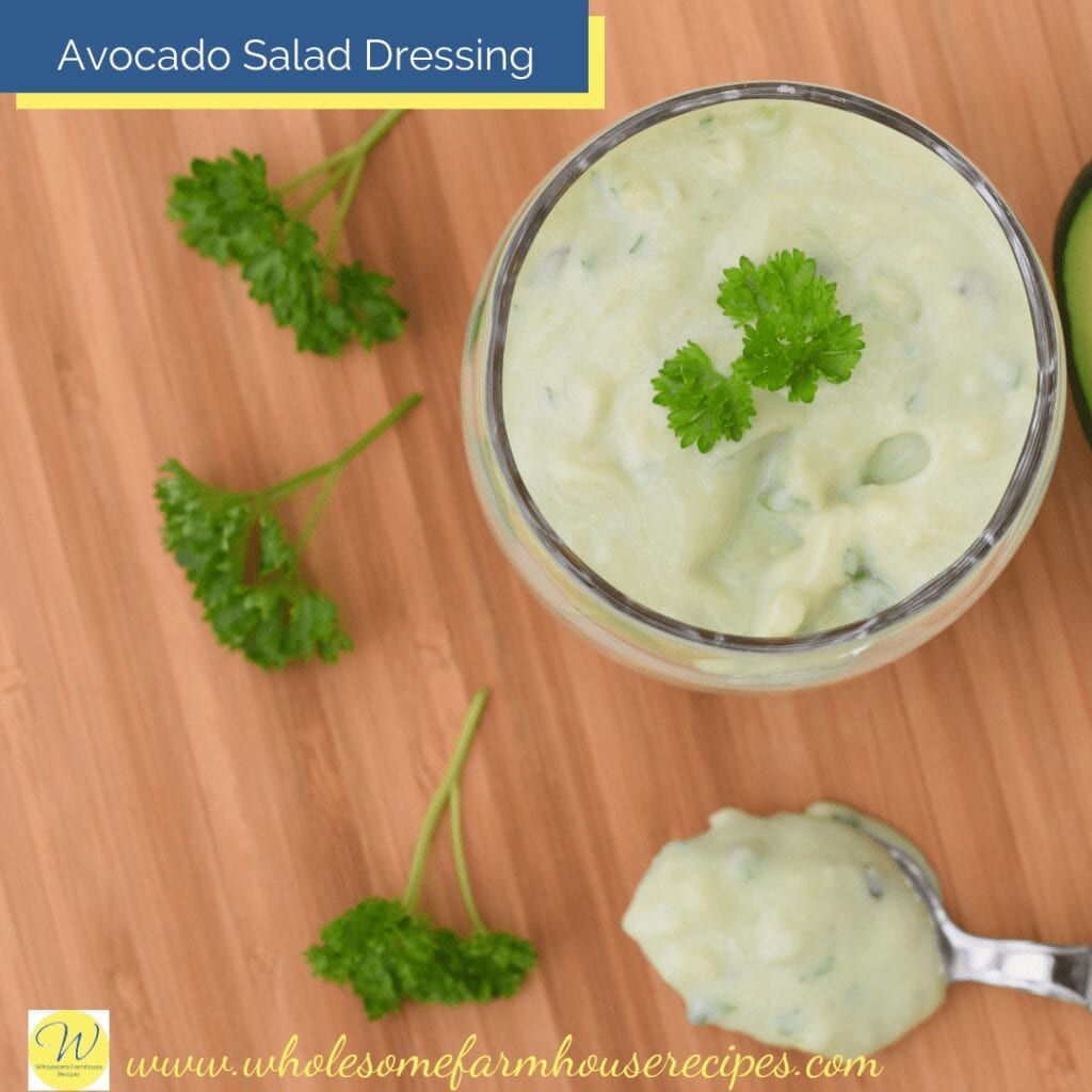 Avocado Salad Dressing In a Bowl with some on a spoon
