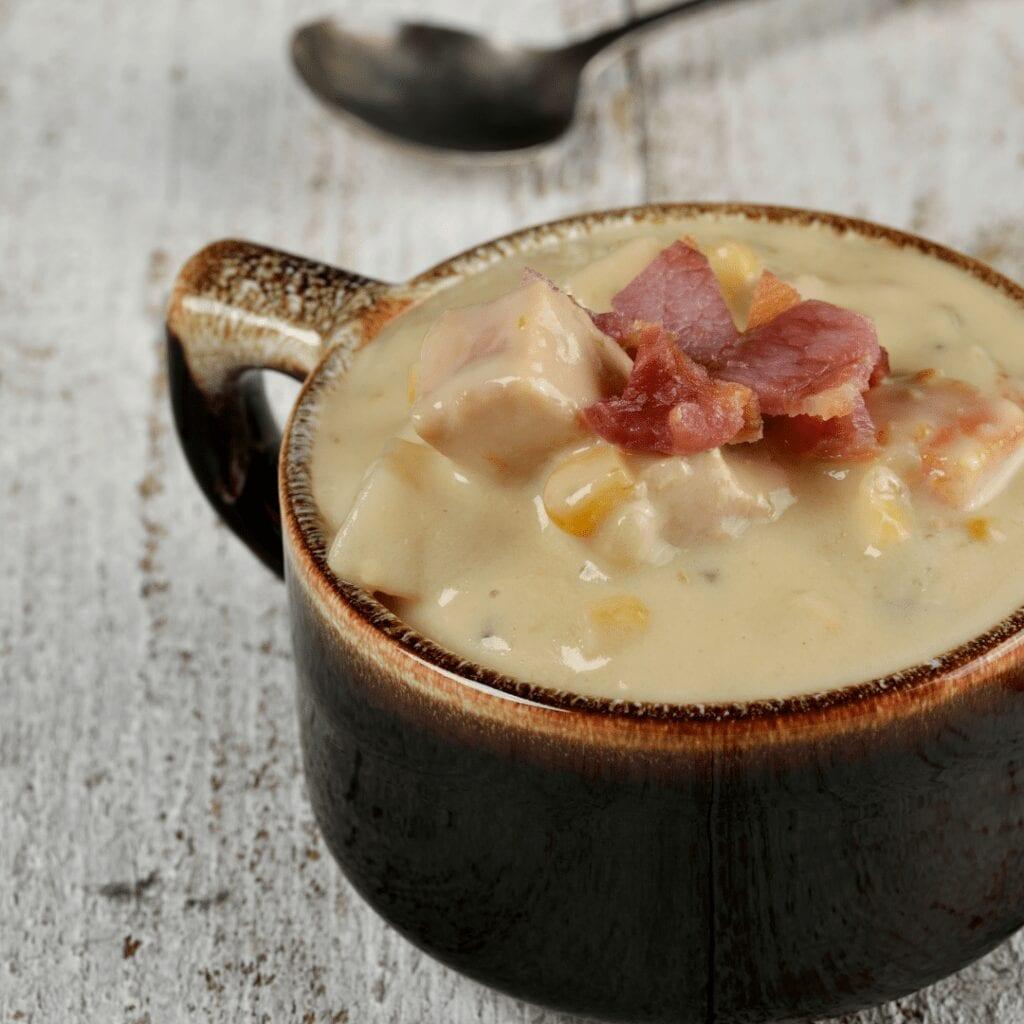 Creamy Potato Corn Soup Topped with Bacon