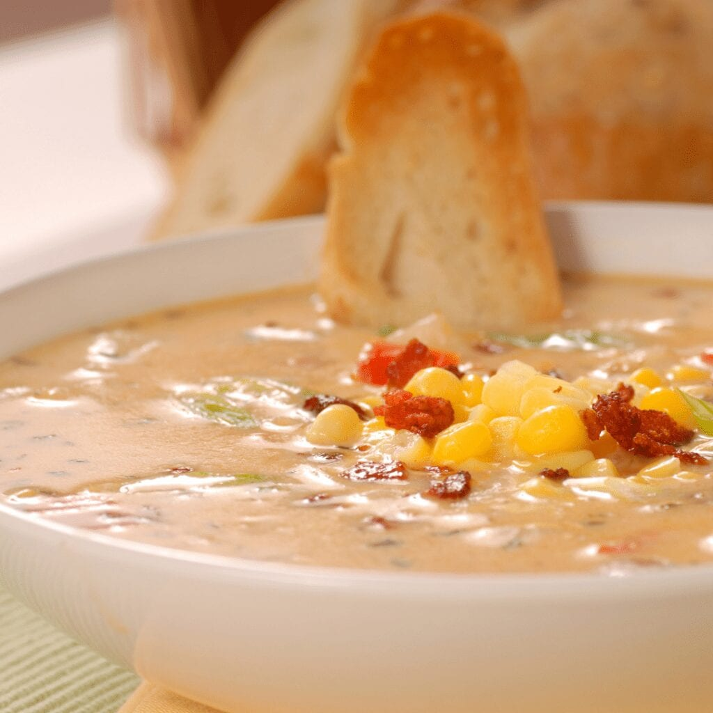 Creamy Potato Soup Served with a Crusty Bread