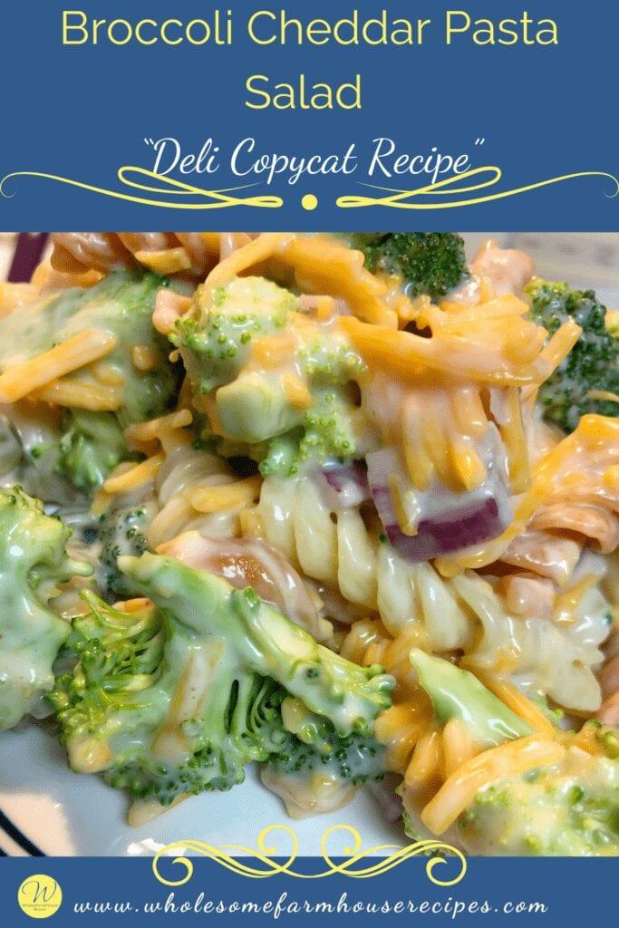 """Broccoli Cheddar Pasta Salad """"Deli Copycat Recipe"""""""