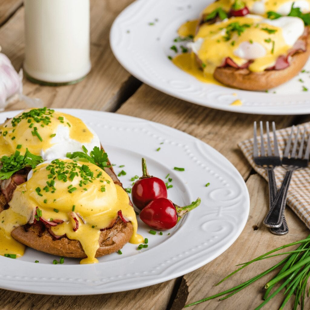 Whole Wheat Bread Thin Slice Roast Beef and Egg Topped with Creamy Hollandaise Sauce