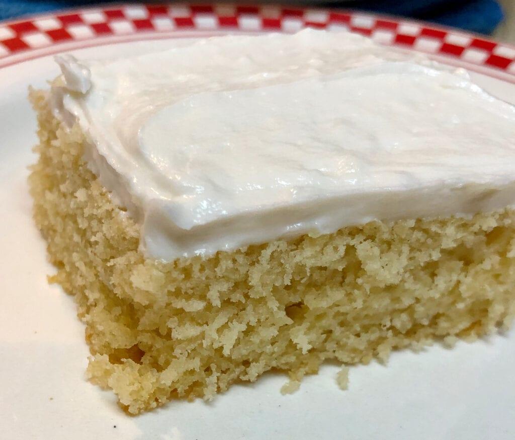 Close up of White Velvet Cake with Vanilla Buttercream