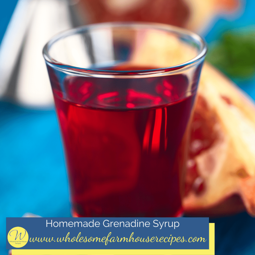 Homemade Grenadine Syrup in Small Glass