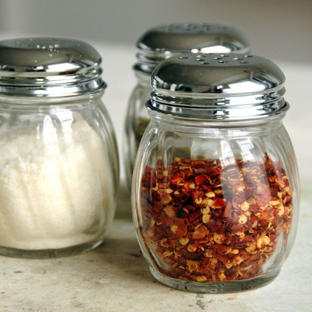 Red Pepper Flakes and Parmesan Cheese Shaker