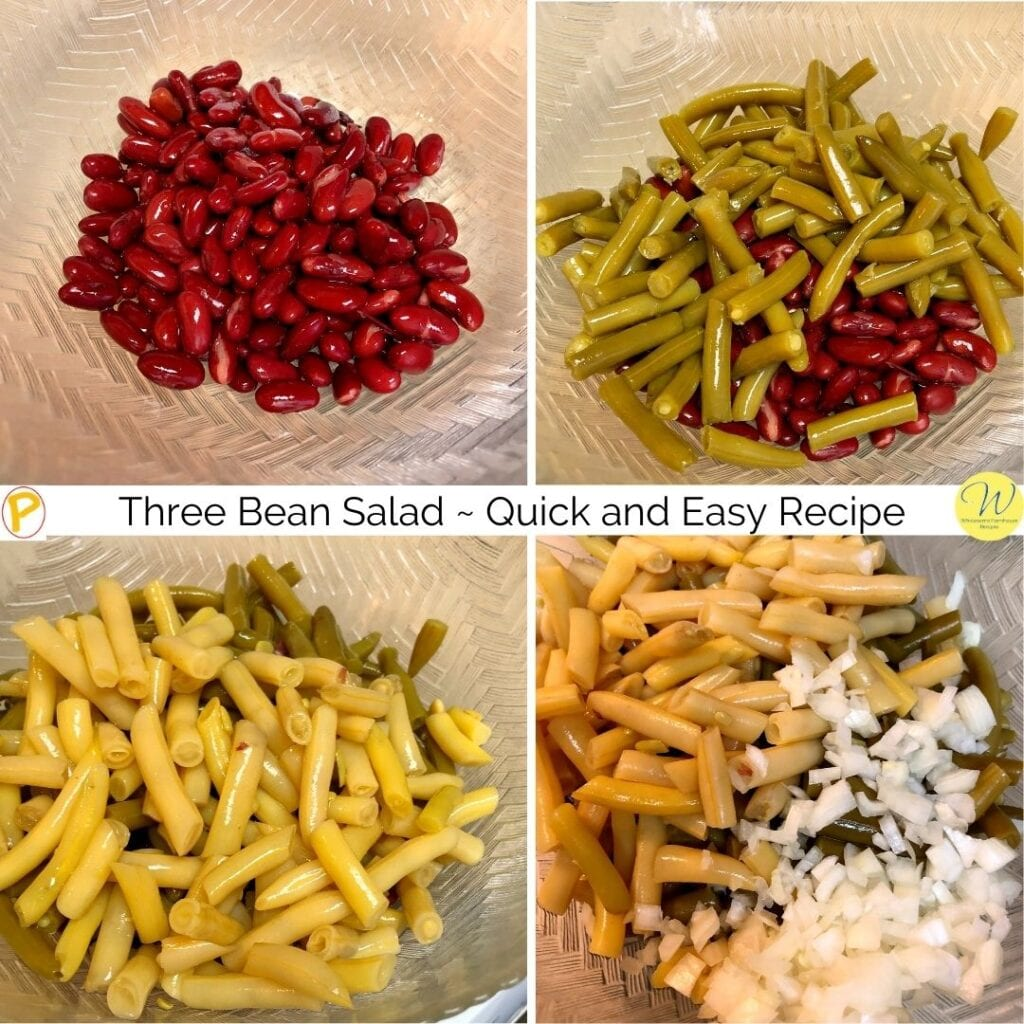 Four Photos showing adding the beans and onion Three Bean Salad _ Quick and Easy Recipe