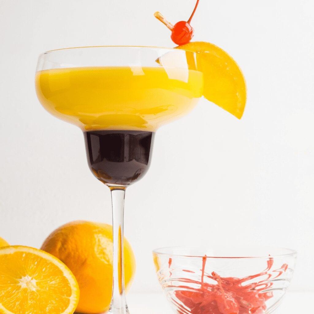 Breakfast Mocktail in a Pretty Glass with Garnish