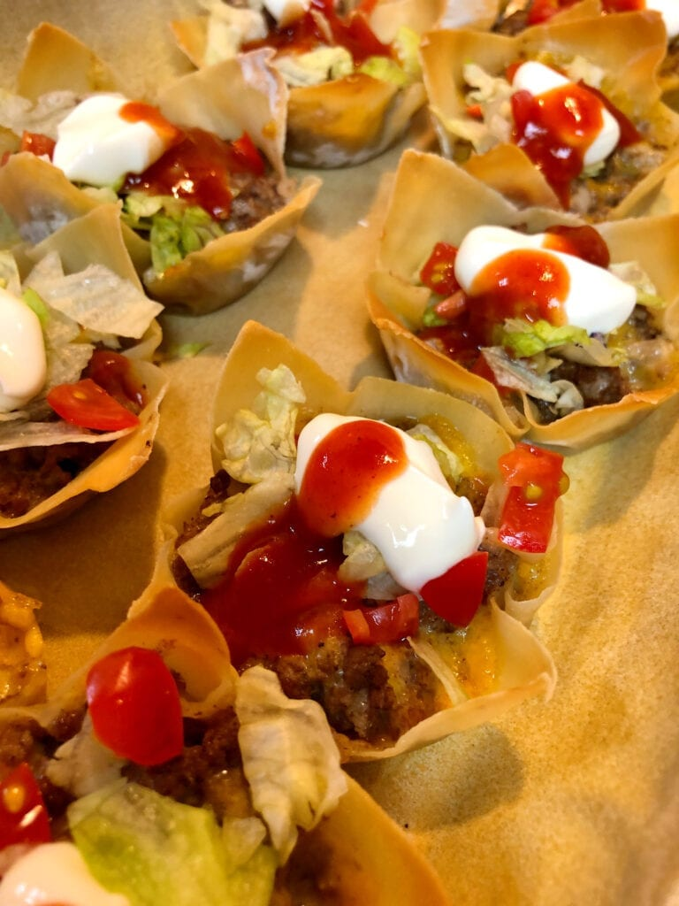 Gameday Food Easy Entertaining Tray of Taco Cups