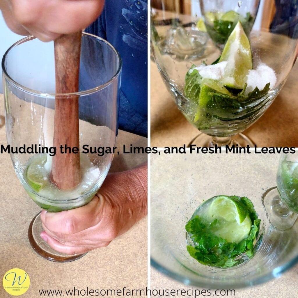 Muddling the Sugar, Limes, and Fresh Mint Leaves