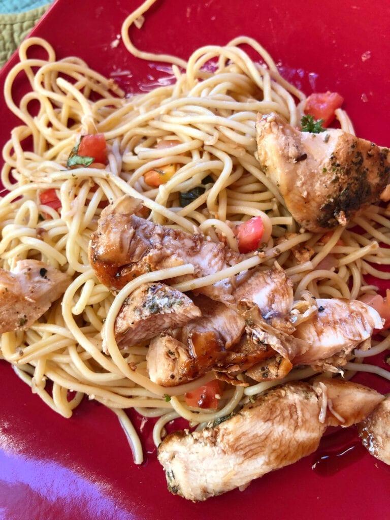 Bruschetta Chicken Pasta Salad Served Cold