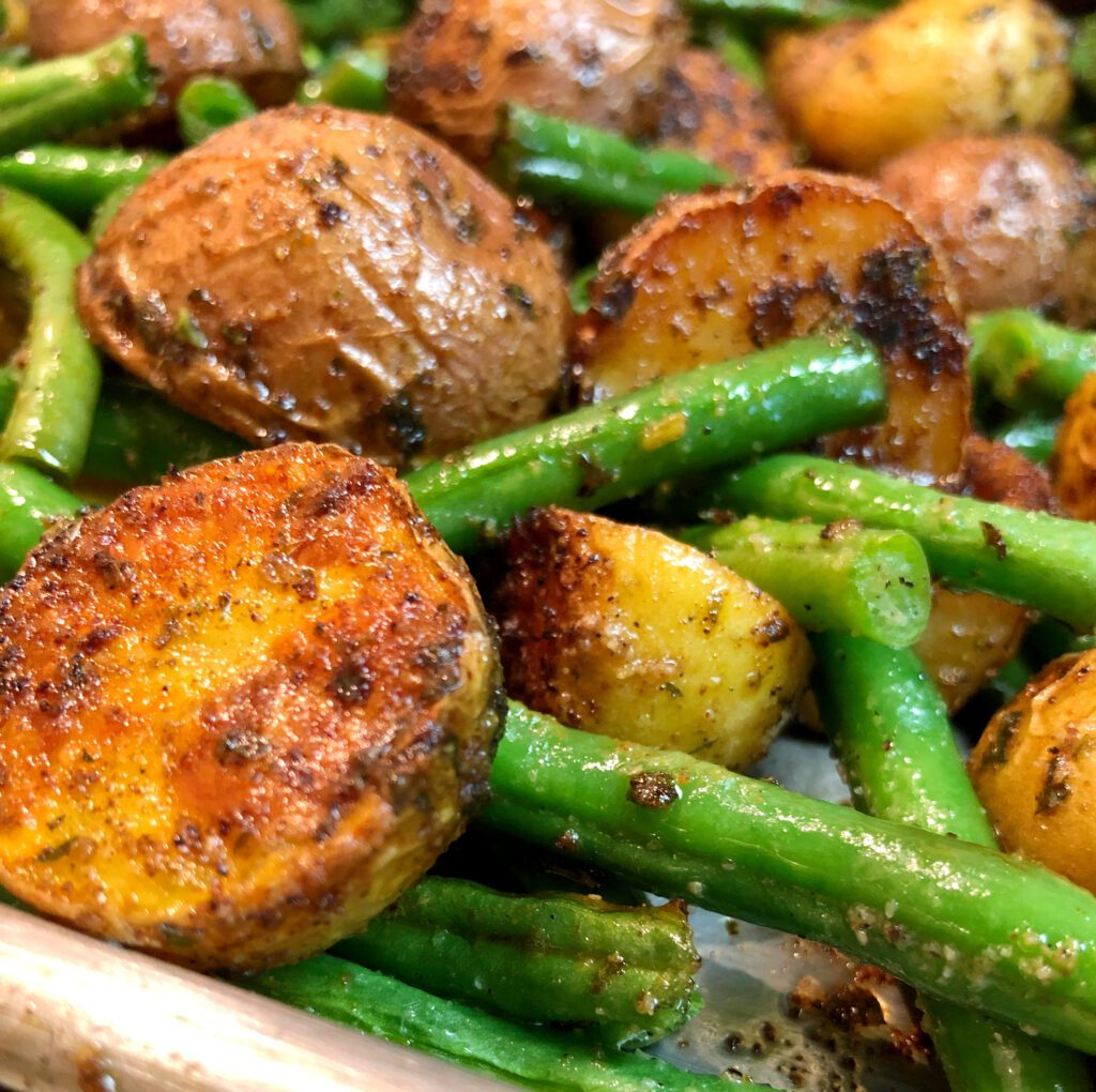Crispy Baked Potatoes and Beans