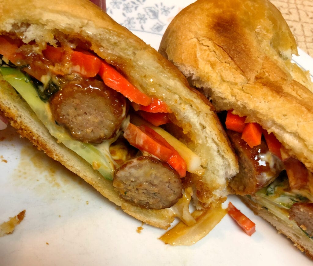 Meatball sub cut in half Delicious and Messy Snack
