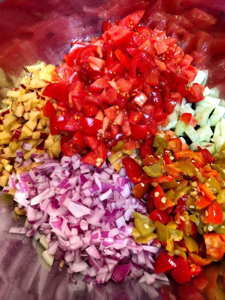 Salsa Ingredients all Diced in Bowl