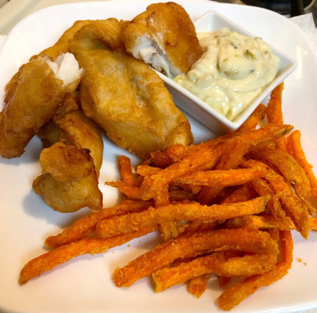 Pub Style Beer Battered Fish Meal with sweet potatoes and tartar sauce