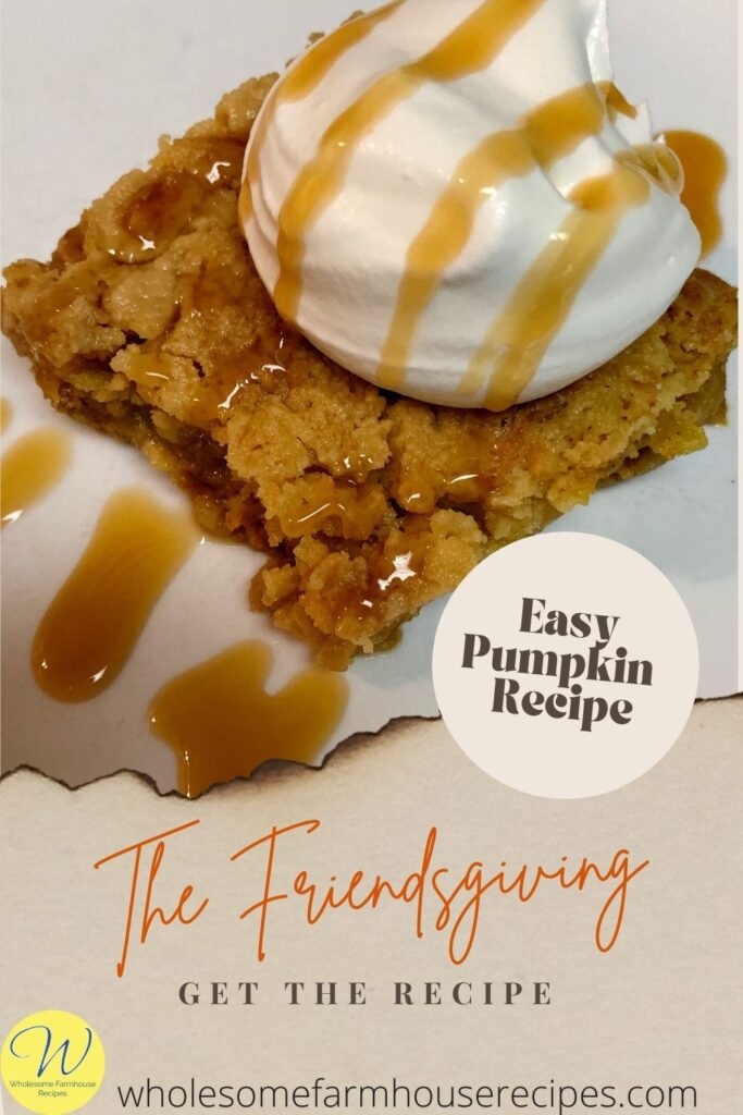 Easy Pumpkin Recipe Served with a Dollop of Whipping Cream and Caramel Sauce