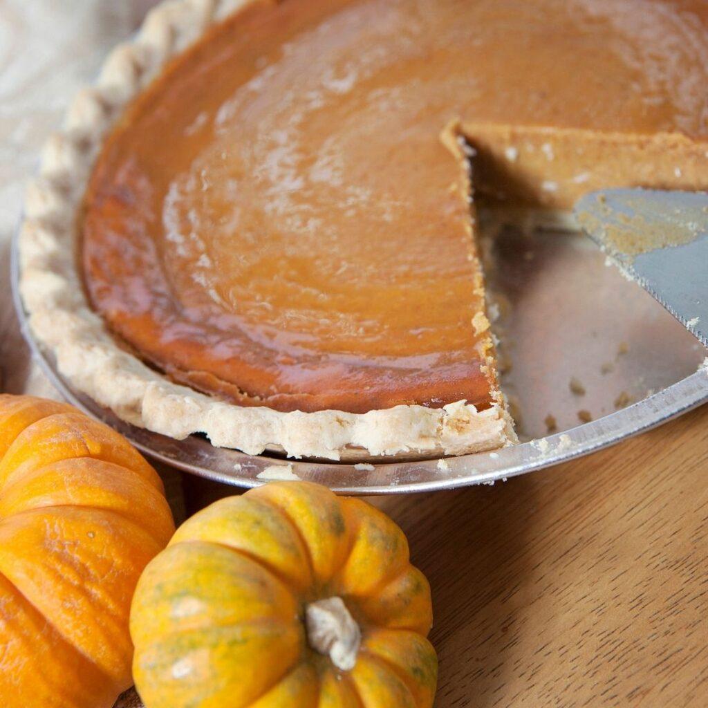 Pumpkin Pie Baked in a Pie Tin