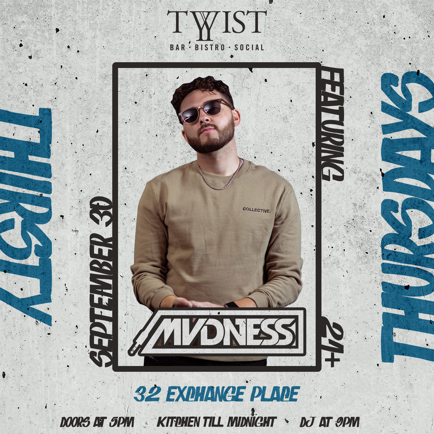 Event flyer for weekly Thusrday night held at Twist Bar & Bistro every Thursday on 32 Exchance Place in Downtown Salt Lake City featuring live DJs, sports, and drink and food spcecials.