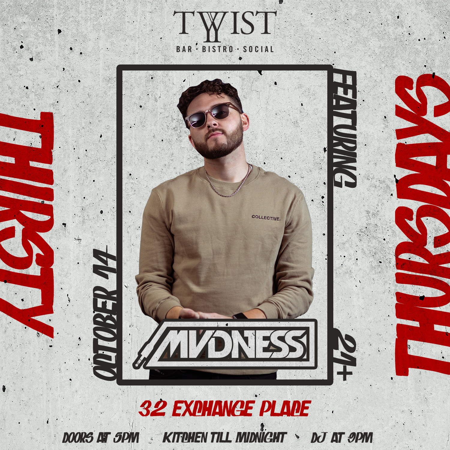 Event flyer for weekly Thursday night held at Twist Bar & Bistro every Thursday on 32 Exchance Place in Downtown Salt Lake City featuring live DJs, sports, and drink and food spcecials.