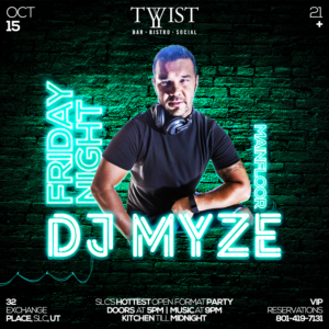 Event flyer for weekly Friday night held at Twist Bar & Bistro every Friday on 32 Exchance Place in Downtown Salt Lake City featuring live DJs, sports, and drink and food spcecials.