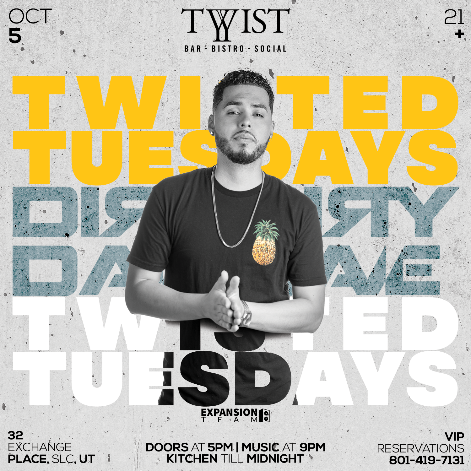 Event flyer for weekly Tuesday night held at Twist Bar & Bistro every Tuesday on 32 Exchance Place in Downtown Salt Lake City featuring live DJs, sports, and drink and food spcecials.