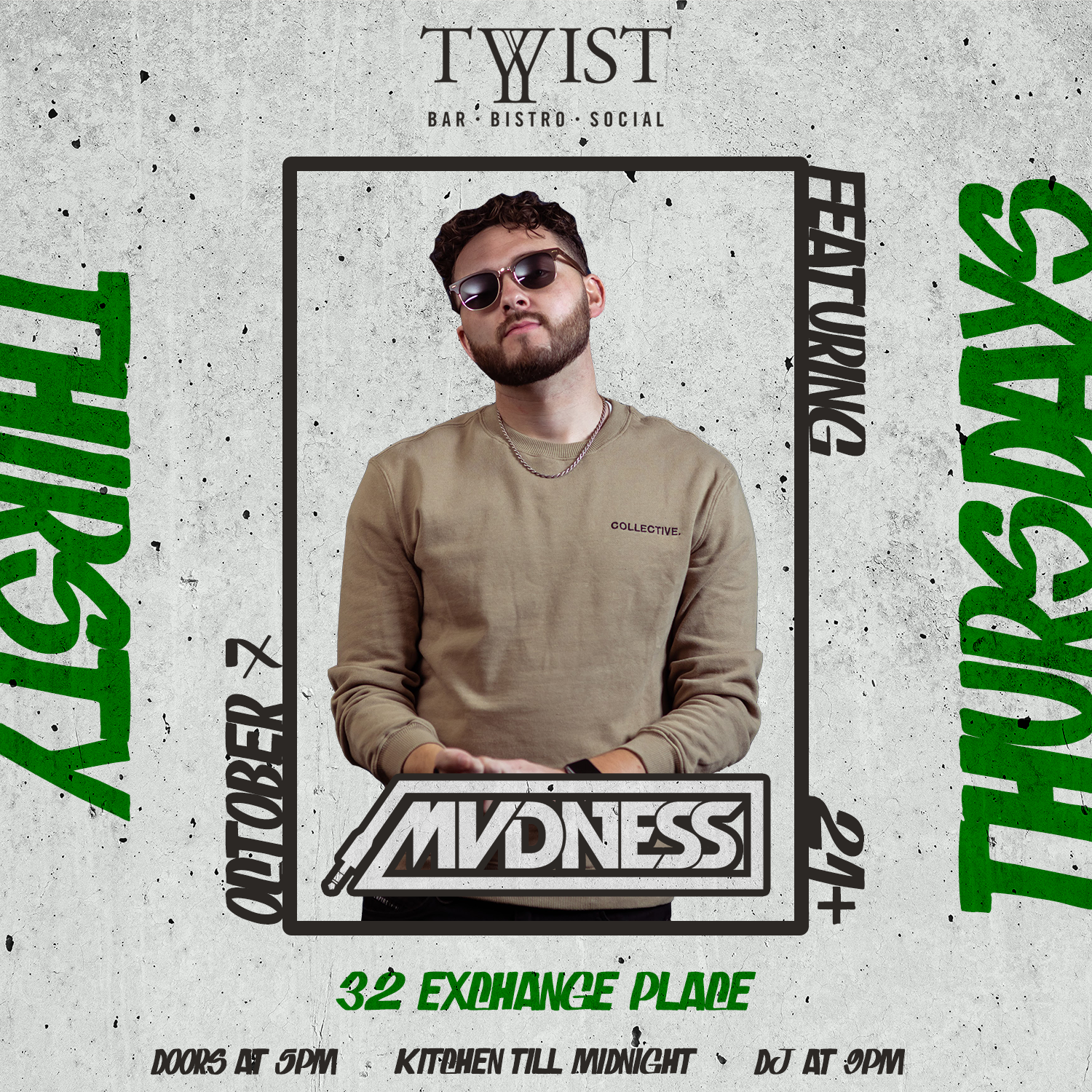 Event flyer for weekly Thirsday night held at Twist Bar & Bistro every Thirsday on 32 Exchance Place in Downtown Salt Lake City featuring live DJs, sports, and drink and food spcecials.