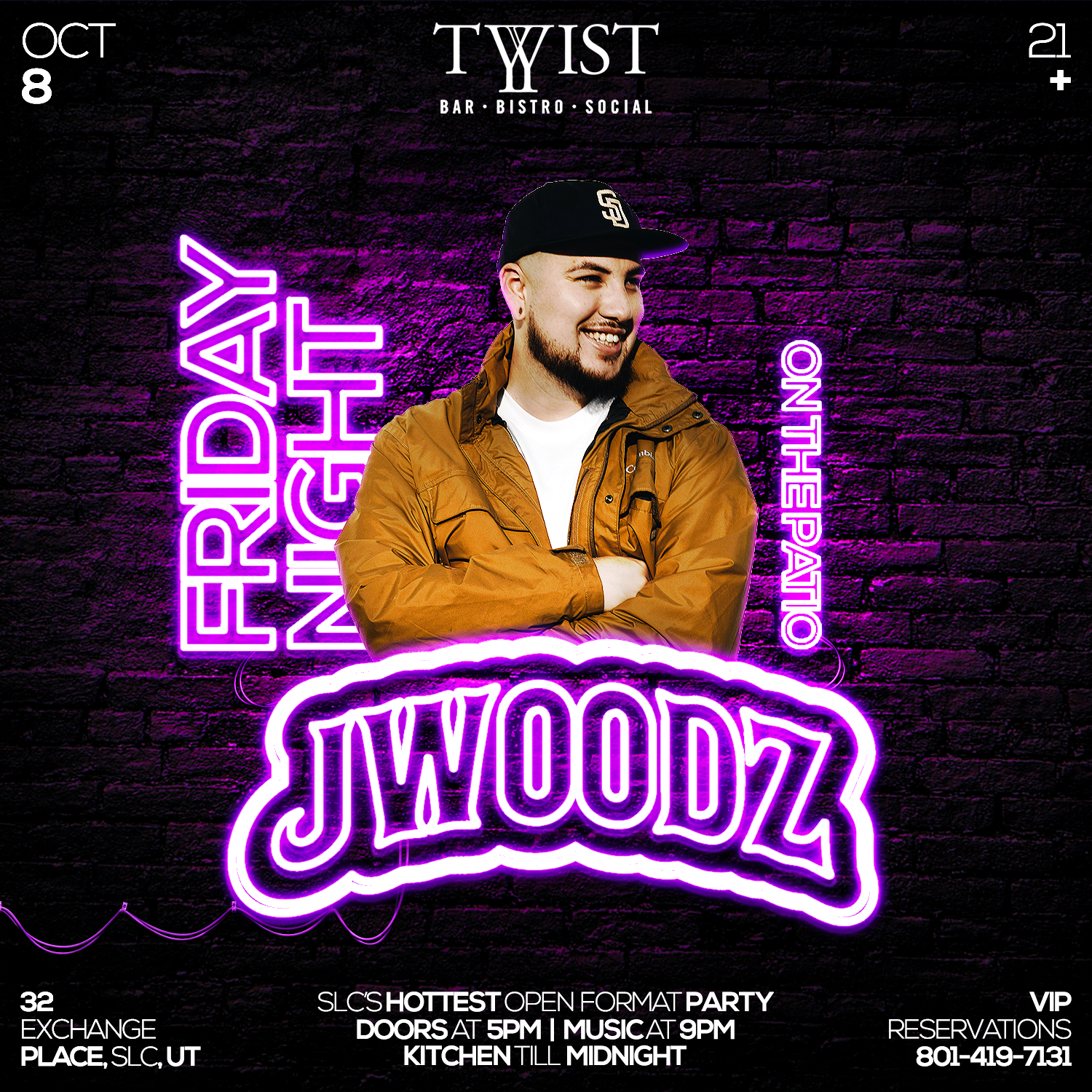 Event flyer for weekly Friday night held at Twist Bar & Bistro every Friday on 32 Exchance Place in Downtown Salt Lake City featuring live DJs, sports, and drink and food specials. Featuring DJ J Woodz