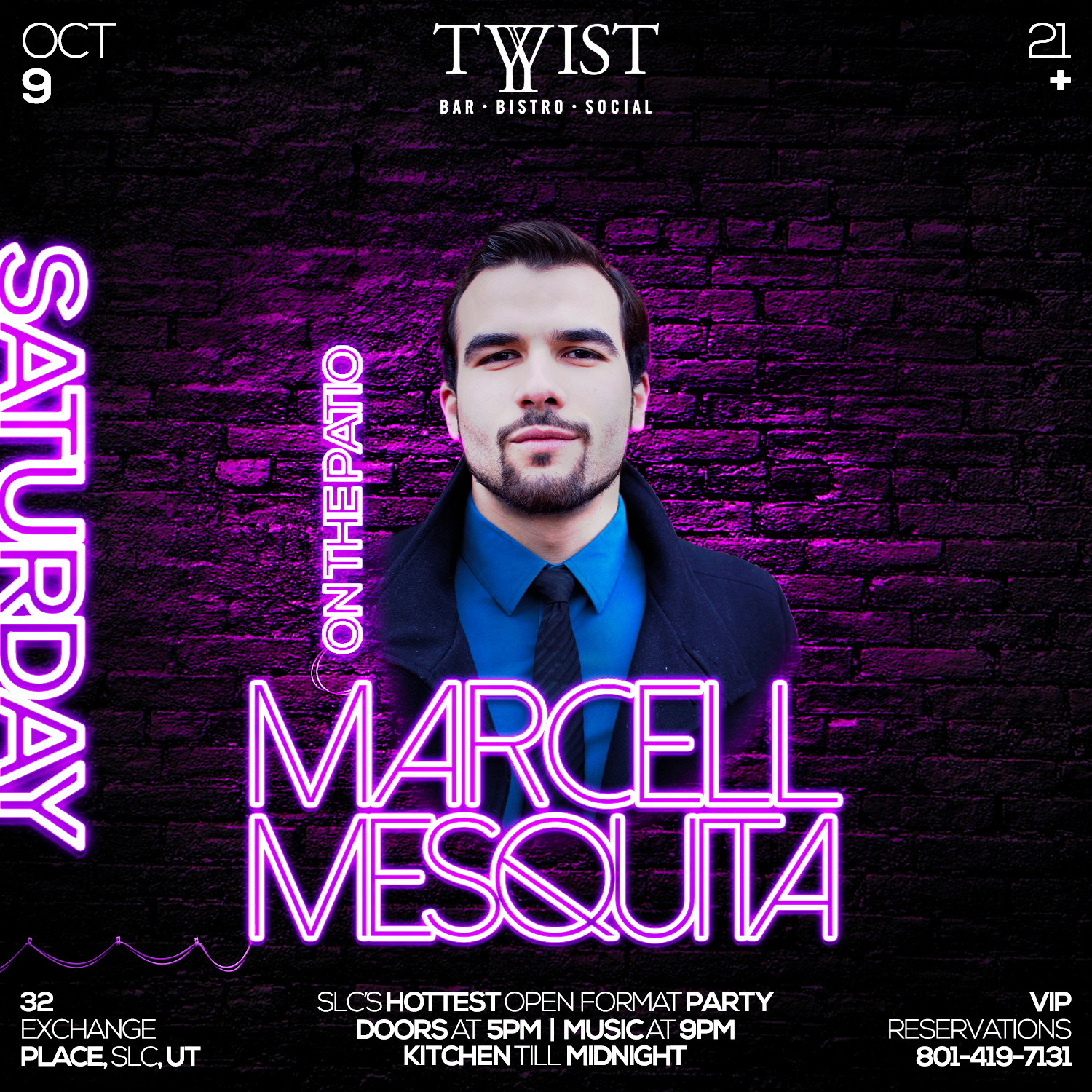 Event flyer for weekly Friday night held at Twist Bar & Bistro every Friday on 32 Exchance Place in Downtown Salt Lake City featuring live DJs, sports, and drink and food specials. Featuring DJ Marcell Mesquita