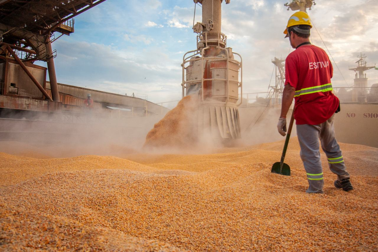 Bulk Carrier Grain Loaded. Soy. Courtesy of Paranagua Port. Parana State. Brazil. Claudio Fernandes Neves
