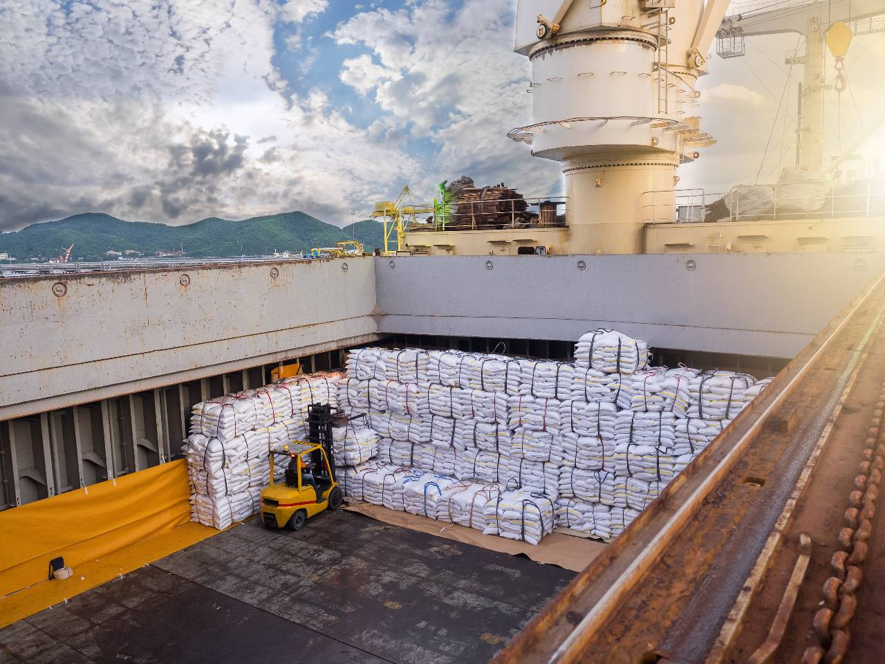 Amarin Jitnathum Forklift handles and stacks bags of sugar into a hold of the bulk carrier vessel.