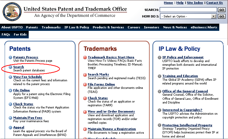 The U.S. Patent and Trademark Office Website *click to enlarge*